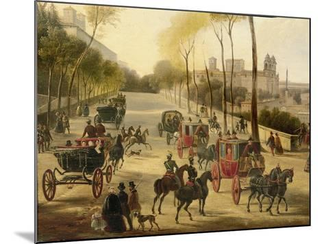 Italy, Rome, Carriage Rides in Pincio Gardens, Unknown Artist, Painting--Mounted Giclee Print