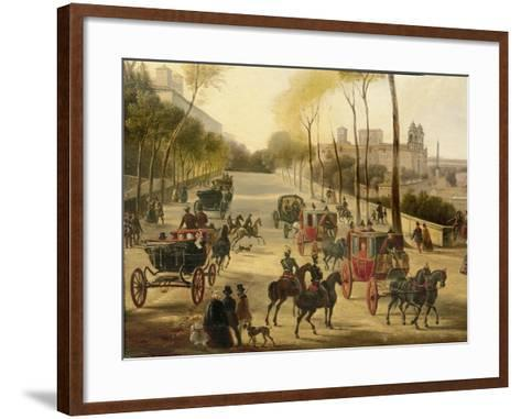 Italy, Rome, Carriage Rides in Pincio Gardens, Unknown Artist, Painting--Framed Art Print