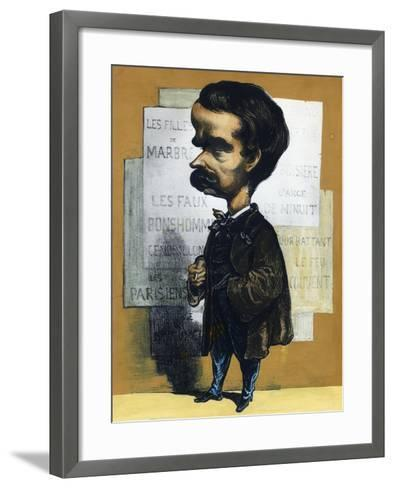 Caricature of Theodore Barriere (Paris, 1823 - Paris, 1877), French Dramatist--Framed Art Print
