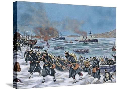 Russo-Japanese War (1904-1905). Landing of Japanese Troops in Chemulpo. Coloured--Stretched Canvas Print