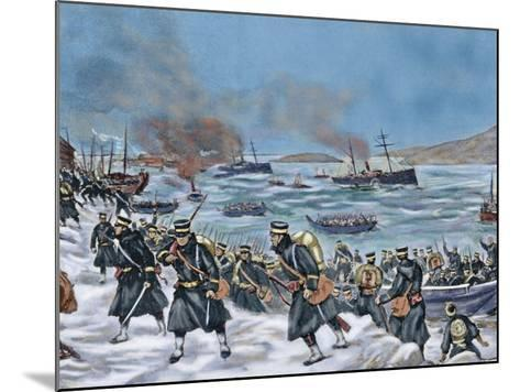 Russo-Japanese War (1904-1905). Landing of Japanese Troops in Chemulpo. Coloured--Mounted Giclee Print
