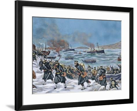 Russo-Japanese War (1904-1905). Landing of Japanese Troops in Chemulpo. Coloured--Framed Art Print