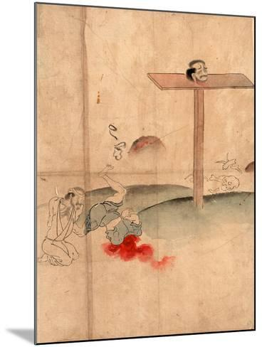 Sarasikubi No Zu, Beheading. with Blood Gushing from the Neck; a Bound Prisoner Kneels Nearby--Mounted Giclee Print