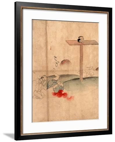 Sarasikubi No Zu, Beheading. with Blood Gushing from the Neck; a Bound Prisoner Kneels Nearby--Framed Art Print