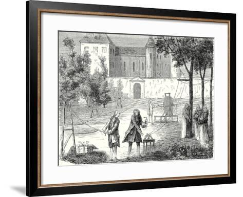 Experiment Conducted in 1746 by Lemonnier in the Monastry of Chartreux to Measure the Speed of Elec--Framed Art Print