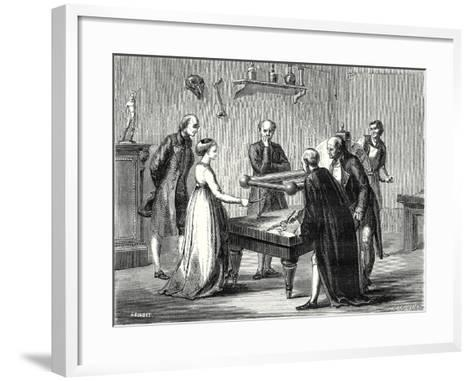Galvani a Professor at Bologna Discovers in 1780 the Irritability of the Muscles of a Frog to Elect--Framed Art Print