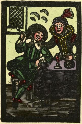 Illustration of English Tales Folk Tales and Ballads. a Glass of Wine and a Pipe. Man and Woman--Stretched Canvas Print