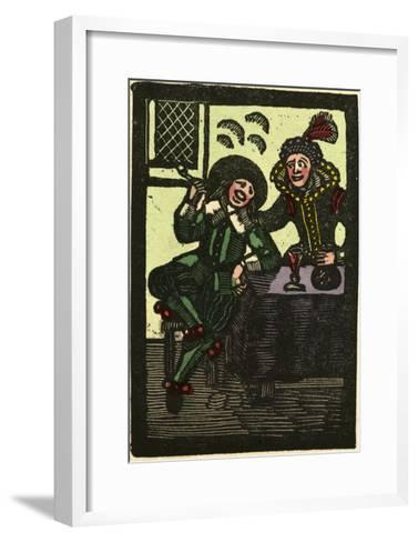 Illustration of English Tales Folk Tales and Ballads. a Glass of Wine and a Pipe. Man and Woman--Framed Art Print