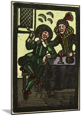 Illustration of English Tales Folk Tales and Ballads. a Glass of Wine and a Pipe. Man and Woman--Mounted Giclee Print