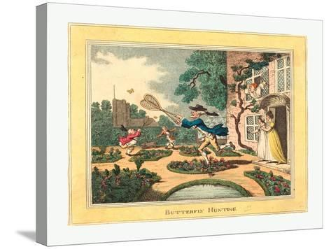 Thomas Rowlandson (British, 1756 1827), Butterfly Hunting, 1806, Hand Colored Etching--Stretched Canvas Print