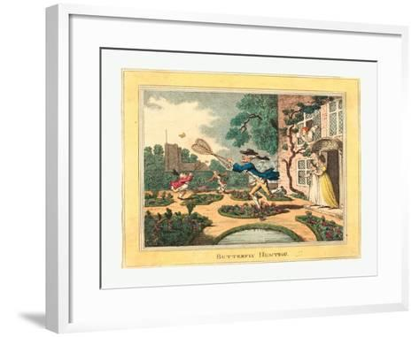 Thomas Rowlandson (British, 1756 1827), Butterfly Hunting, 1806, Hand Colored Etching--Framed Art Print