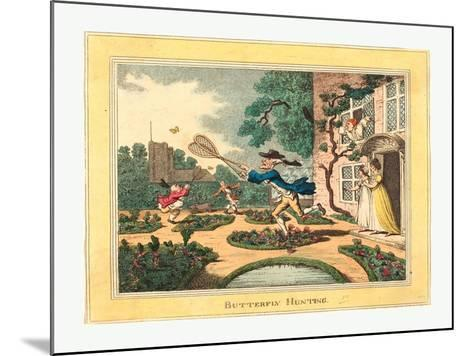 Thomas Rowlandson (British, 1756 1827), Butterfly Hunting, 1806, Hand Colored Etching--Mounted Giclee Print