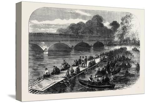 The 1st Middlesex Volunteer Engineers Throwing a Barrel-Pier Bridge over the Serpentine 1867--Stretched Canvas Print