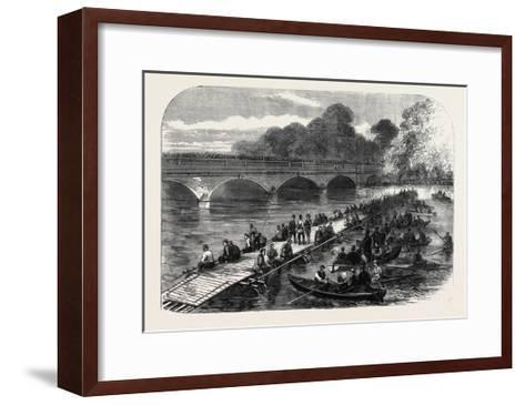 The 1st Middlesex Volunteer Engineers Throwing a Barrel-Pier Bridge over the Serpentine 1867--Framed Art Print