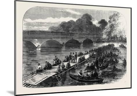 The 1st Middlesex Volunteer Engineers Throwing a Barrel-Pier Bridge over the Serpentine 1867--Mounted Giclee Print