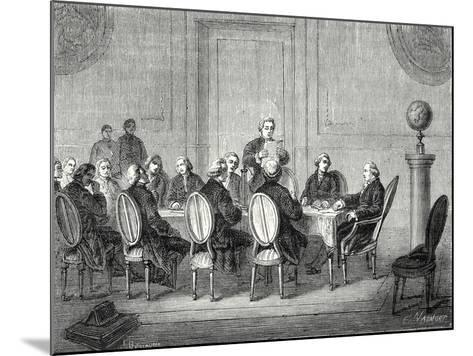 Joseph Banks Reads the Letter of Volta Announcing the Discovery of the Electric Battery before the --Mounted Giclee Print
