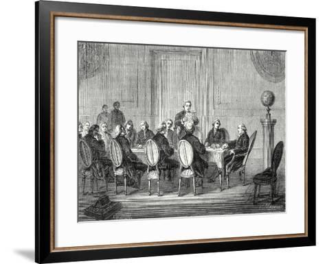 Joseph Banks Reads the Letter of Volta Announcing the Discovery of the Electric Battery before the --Framed Art Print
