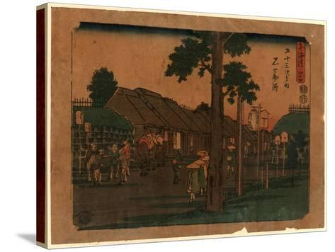 Ishiyakushi, Print Shows Travelers on Village Street with Many Buildings 1797-1858, Artist--Stretched Canvas Print