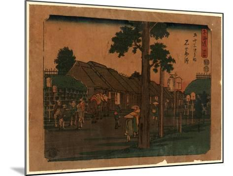 Ishiyakushi, Print Shows Travelers on Village Street with Many Buildings 1797-1858, Artist--Mounted Giclee Print