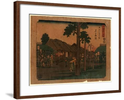 Ishiyakushi, Print Shows Travelers on Village Street with Many Buildings 1797-1858, Artist--Framed Art Print