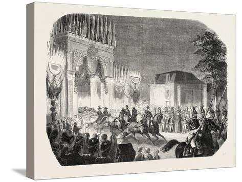 Arrival of the Queen of England at the Castle of Saint-Cloud, France. Queen Victoria. 1855--Stretched Canvas Print