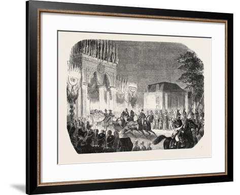 Arrival of the Queen of England at the Castle of Saint-Cloud, France. Queen Victoria. 1855--Framed Art Print