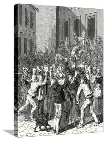 A Riot in Saint-Omer About the Establishment of a Lightning Rod on the House of De Boisvallé--Stretched Canvas Print