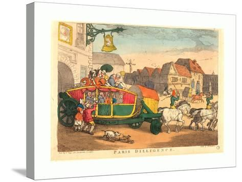 Thomas Rowlandson (British, 1756 1827), Paris Diligence, Probably 1810, Hand Colored Etching--Stretched Canvas Print
