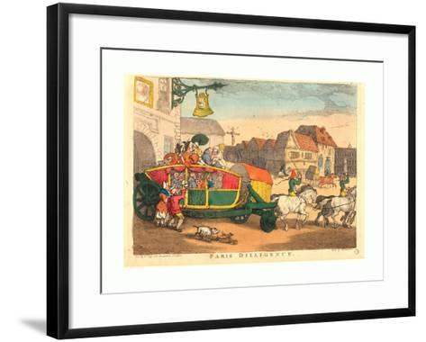Thomas Rowlandson (British, 1756 1827), Paris Diligence, Probably 1810, Hand Colored Etching--Framed Art Print