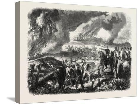 Burning of Cork-Tree Forests, in the District of Jemappes, Philipville, Algeria, 1865--Stretched Canvas Print