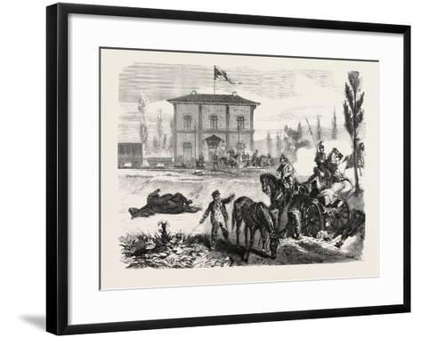 Franco-Prussian War: the Railway Station of Courcelles in the Morning of 16 August 1870--Framed Art Print