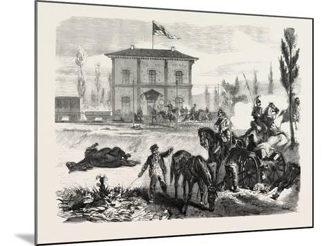 Franco-Prussian War: the Railway Station of Courcelles in the Morning of 16 August 1870--Mounted Giclee Print