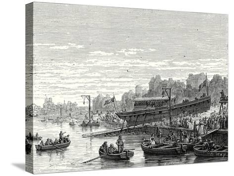 The 'Charles-Philippe' Launched on the Seine at Bercy by the Marquis De Jouffroy on 20 August 1816--Stretched Canvas Print