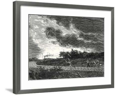 Platelayer Raises the Alarm Signal and Runs in Front of a Train to Prevent an Accident--Framed Art Print