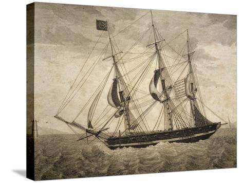 American Merchant Ship, by Giuseppe Fedi Aliprandi, 19th Century--Stretched Canvas Print