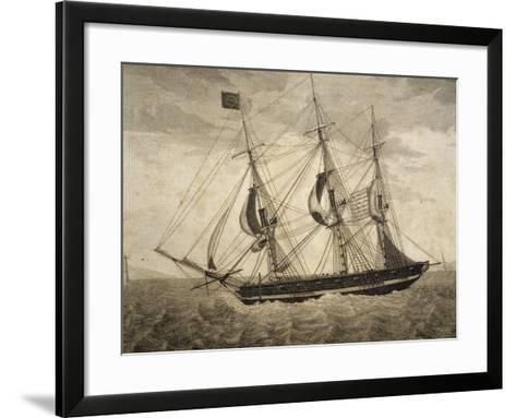 American Merchant Ship, by Giuseppe Fedi Aliprandi, 19th Century--Framed Art Print