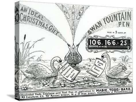 Advert for Swan Fountain Pens, from an Illustrated Trade Catalogue, C.1900-10--Stretched Canvas Print