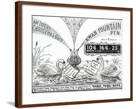 Advert for Swan Fountain Pens, from an Illustrated Trade Catalogue, C.1900-10--Framed Art Print
