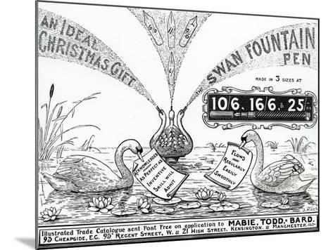 Advert for Swan Fountain Pens, from an Illustrated Trade Catalogue, C.1900-10--Mounted Giclee Print