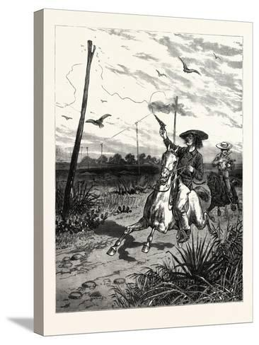 Texas: Cattle Herders Indulging in Revolver Practice on Telegraph Insulators--Stretched Canvas Print