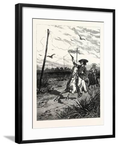 Texas: Cattle Herders Indulging in Revolver Practice on Telegraph Insulators--Framed Art Print