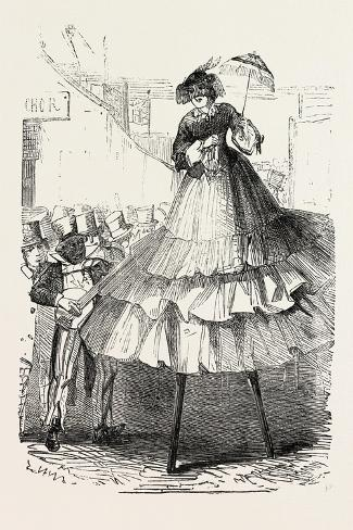 The Derby Day, Scenes by the Roadside and on the Downs: Crinoline on Stilts. Uk, 1860--Stretched Canvas Print