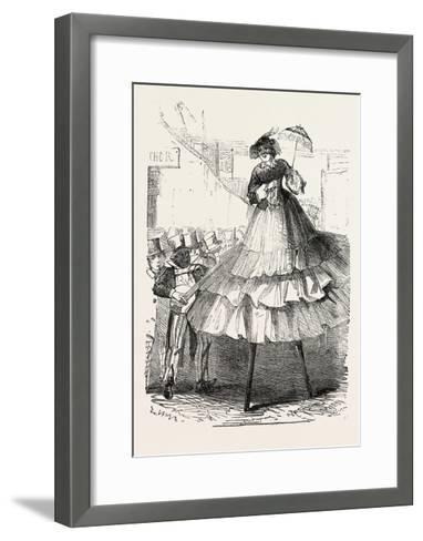 The Derby Day, Scenes by the Roadside and on the Downs: Crinoline on Stilts. Uk, 1860--Framed Art Print