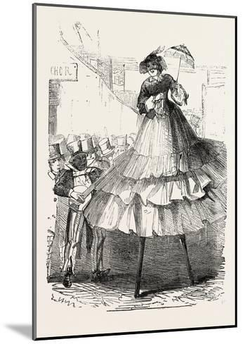 The Derby Day, Scenes by the Roadside and on the Downs: Crinoline on Stilts. Uk, 1860--Mounted Giclee Print