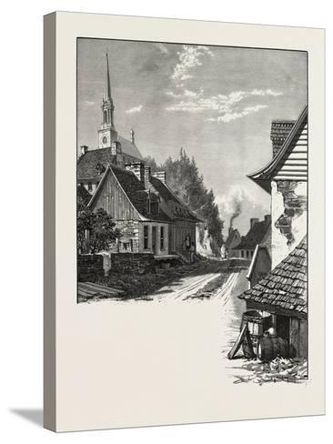 French Canadian Life, a Street in Chateau Richer, Canada, Nineteenth Century--Stretched Canvas Print