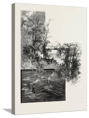 The Lower Ottawa, Back River Bridge, and Shad Fishing, Canada, Nineteenth Century--Stretched Canvas Print
