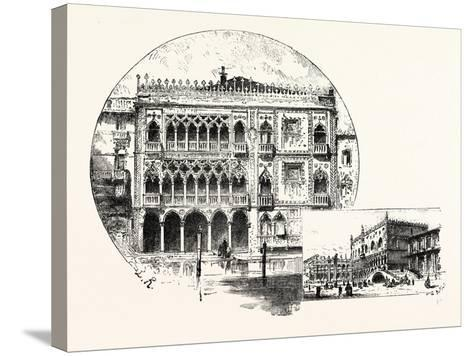 Ca' D'Oro Palace on the Grand Canal (Left) Palace of the Doges (Right) Venice--Stretched Canvas Print