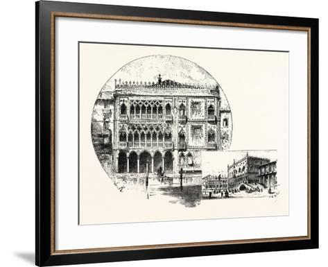 Ca' D'Oro Palace on the Grand Canal (Left) Palace of the Doges (Right) Venice--Framed Art Print