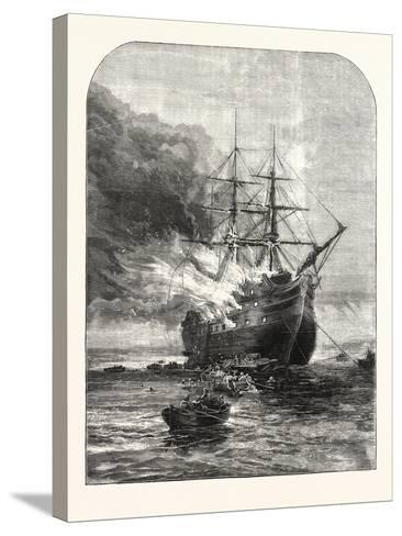 Destruction of the Goliath Training Ship, Off Grays, Essex, by Fire, 1876, Uk--Stretched Canvas Print