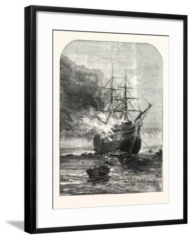 Destruction of the Goliath Training Ship, Off Grays, Essex, by Fire, 1876, Uk--Framed Art Print